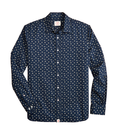 Red Fleece Indigo Insect-Print Poplin Shirt