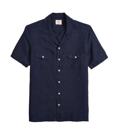 Red Fleece Garment-Dyed Linen-Cotton Camp Collar Shirt Navy
