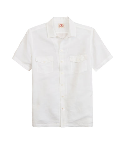 Red Fleece Garment-Dyed Linen-Cotton Camp Collar Shirt White
