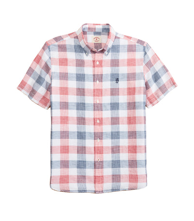 Red Fleece Checkered Linen-Cotton Short-Sleeved Shirt