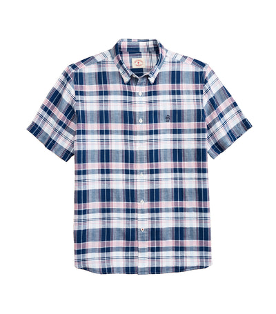 Red Fleece Plaid Linen-Cotton Short-Sleeved Shirt