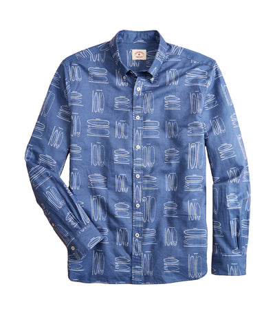 Red Fleece Surfboard Print Linen-Cotton Shirt