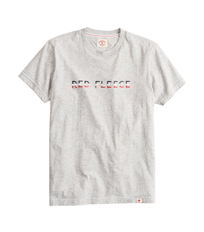 Jersey Cotton Red Fleece Graphic T-Shirt Gray