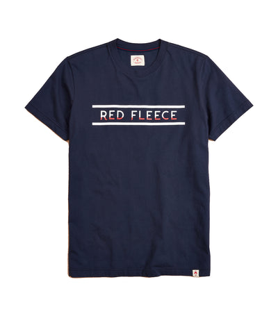 Jersey Cotton Red Fleece Graphic T-Shirt Navy