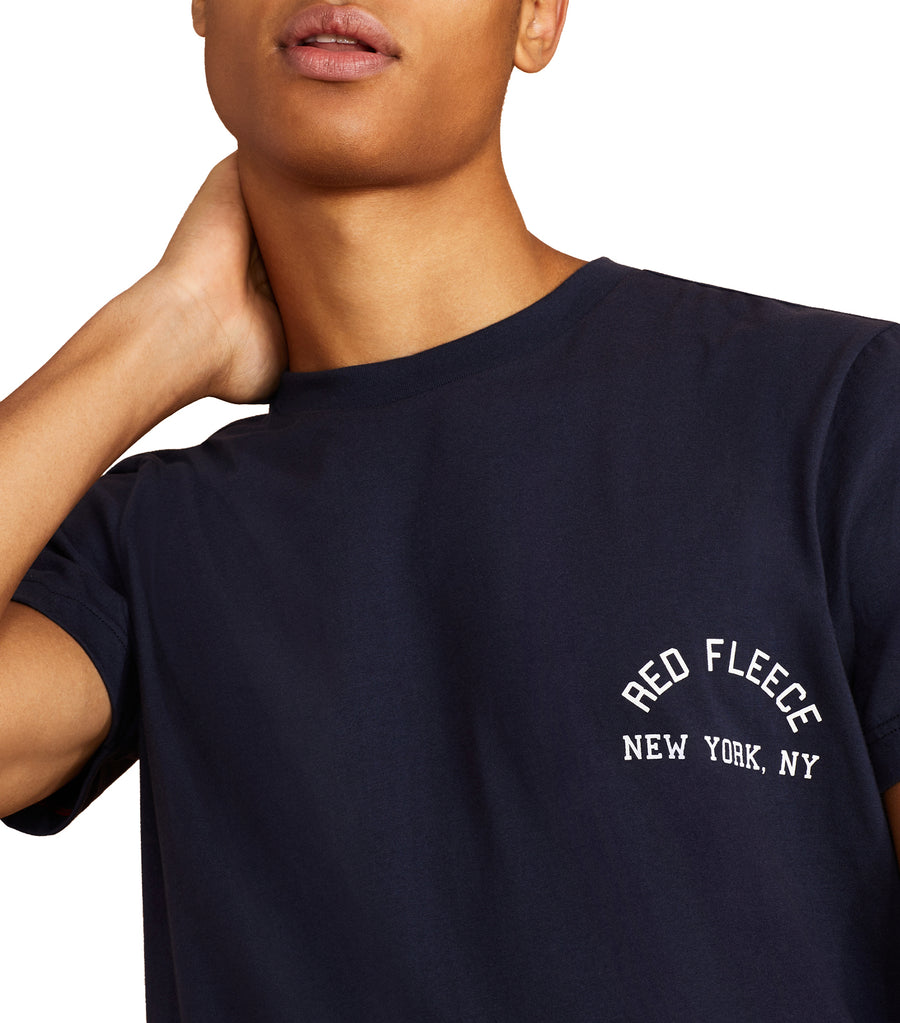 Jersey Cotton Red Fleece NY Graphic T-Shirt Navy