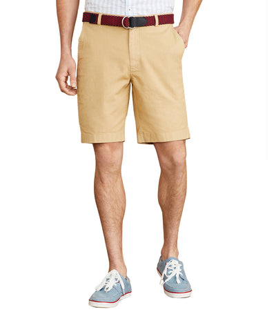 Red Fleece Cotton-Linen Chino Shorts
