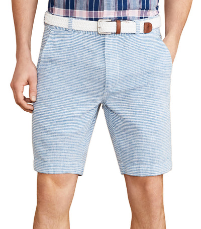 Red Fleece Horizontal Stripe Cotton-Linen Shorts