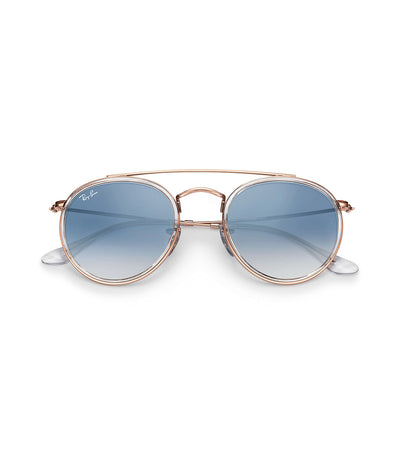 ray-ban round double bridge gradient blue