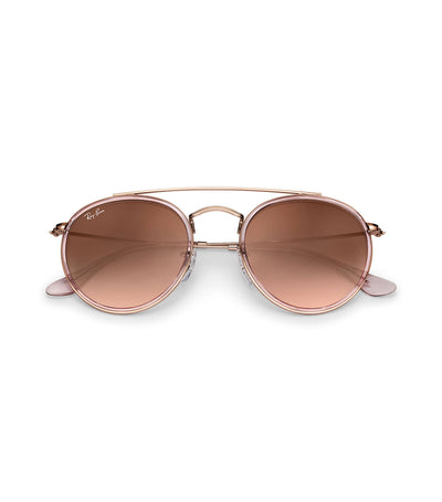 ray-ban round double bridge pink gradient