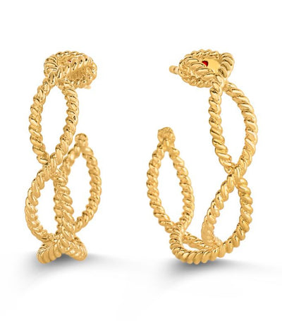 roberto coin new barocco small hoop earrings 18k yellow gold