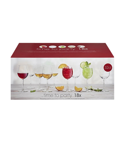 royal leerdam time to party 18-piece wine glass set