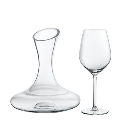 royal leerdam appreciate five-piece set of four white wine glasses and one decanter