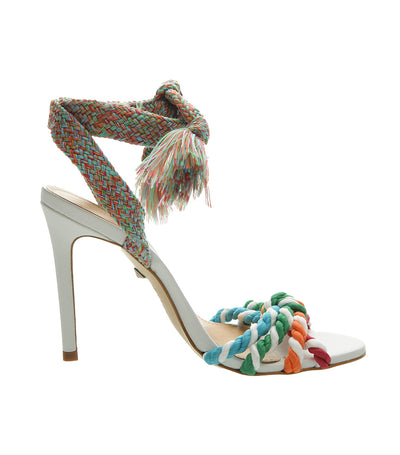 Braided Cord Heels Sandals Multicolor