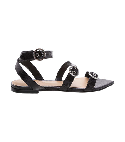 Lizard Glass Sandal Black