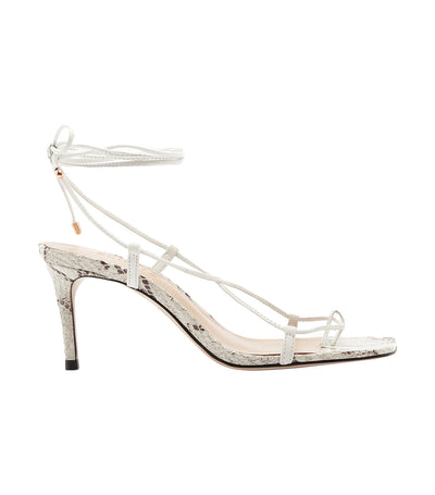 Strings Lace Up Sandal Snake White