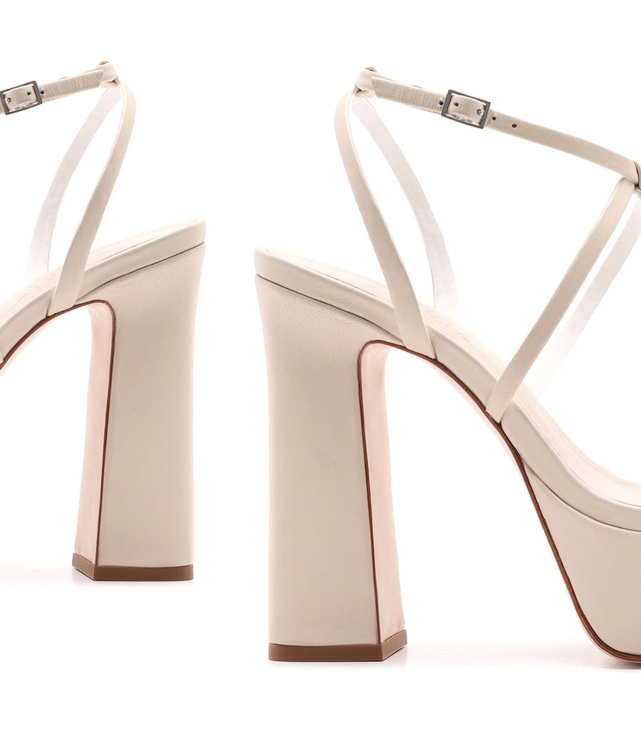 Block High Heel Sandal Off White