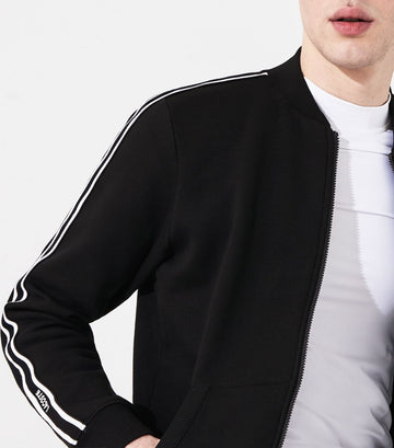 Men's Lacoste SPORT Contrast Bands Fleece Teddy Jacket Black and White