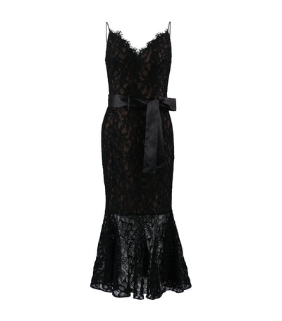 sho lace trumpet skirt dress black