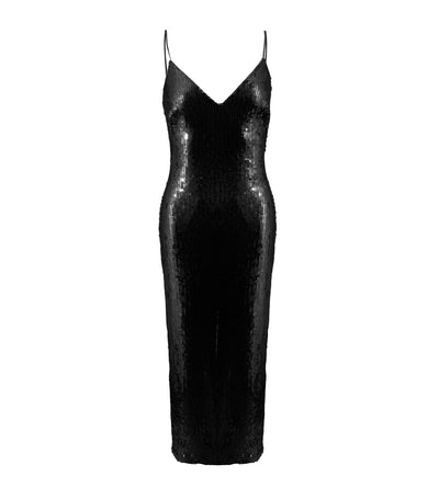 sho sequin bodycon midi dress black