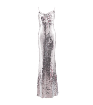 sho sequin cowl neck gown silver