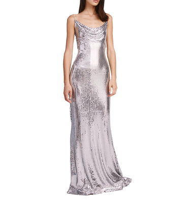 sho sequin cowl neck maxi dress silver