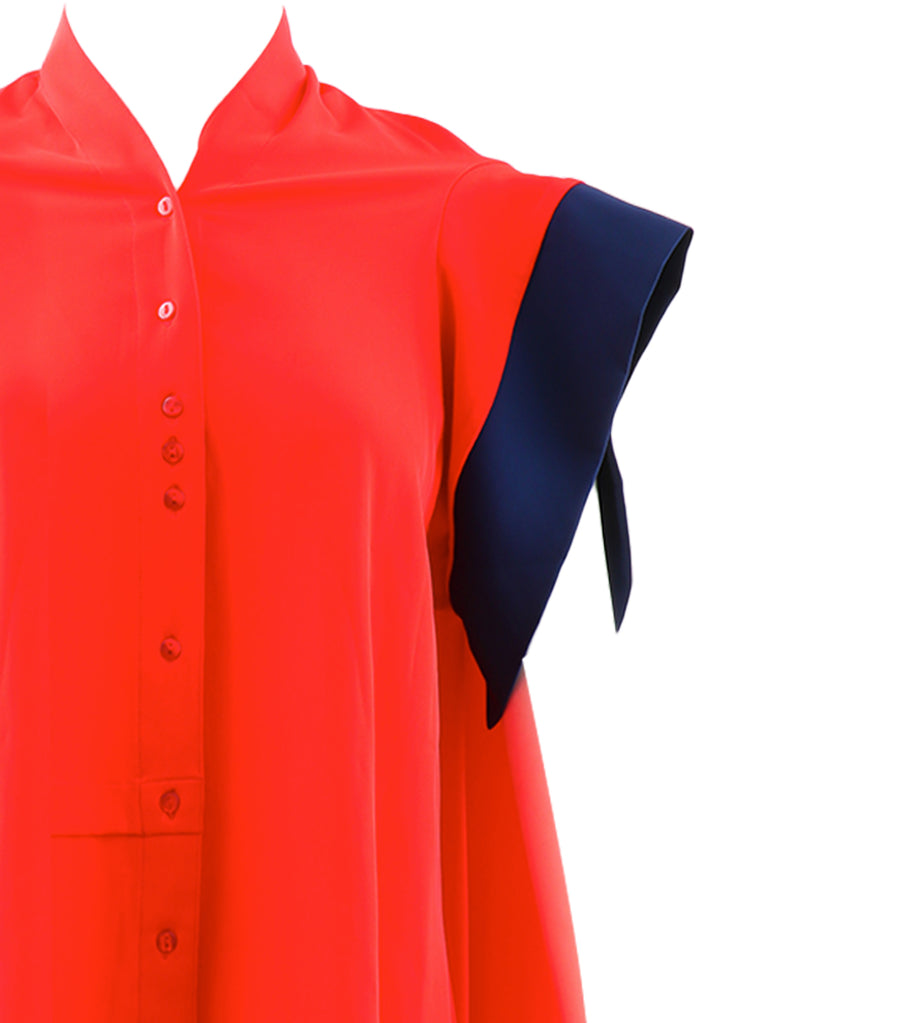 Chariotte Blouse Orange and Blue