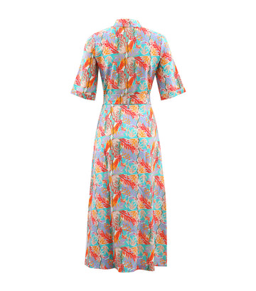 Consus Belted Shirt Dress Pink Floral Print Cabernet