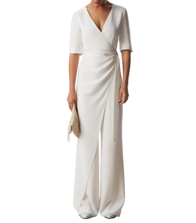 Jumpsuit with Overlayer and Buckle White