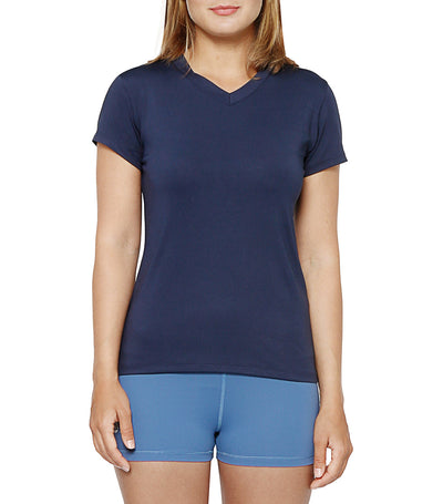 atsui sora short-sleeved v-neck tee navy blue