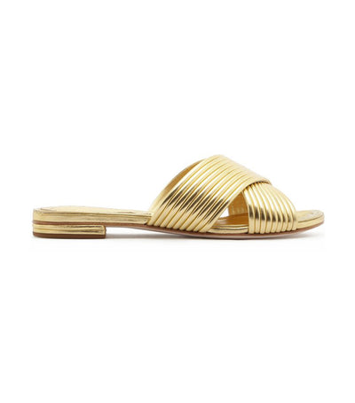 Criss-Cross Metallic Slip On Sandals Gold