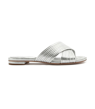Criss-Cross Metallic Slip On Sandals Silver