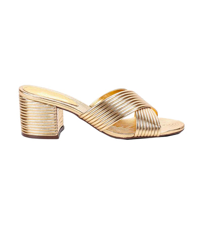 Criss-Cross Metallic Stack Sandals Gold