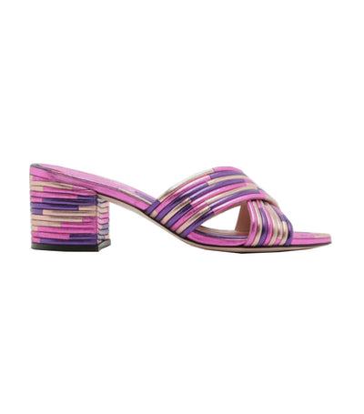 Criss-Cross Metallic Stack Sandals Pink and Purple