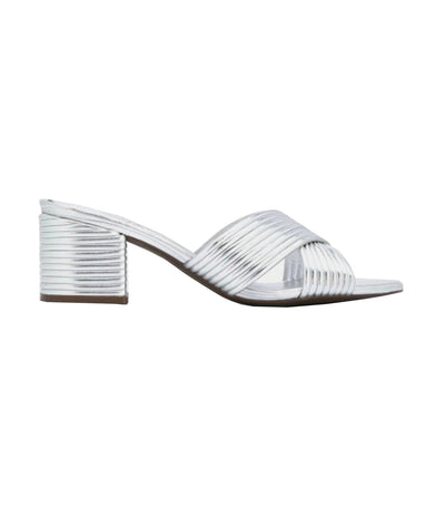 Criss-Cross Metallic Stack Sandals Silver