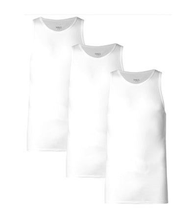 3 Pack Pure Cotton Sleeveless Vests White