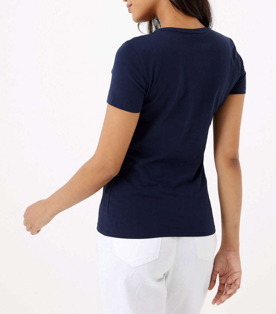 Cotton Rich Fitted T-Shirt Navy