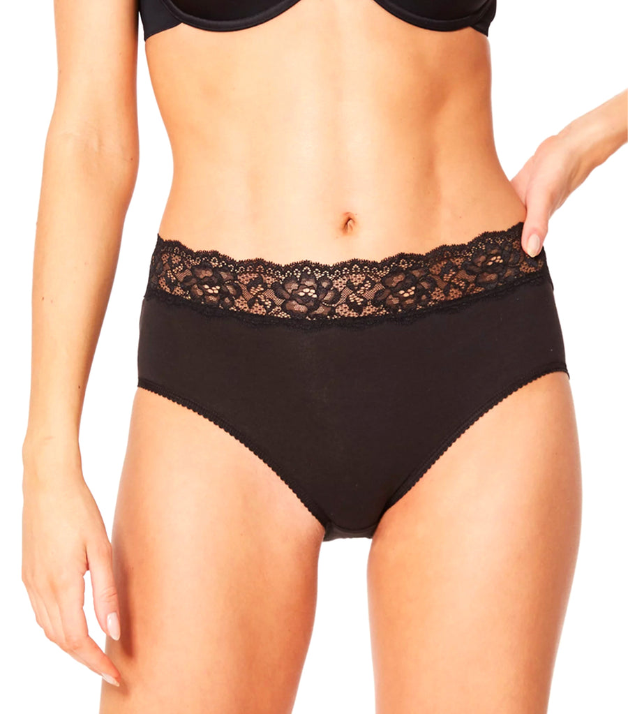5 Pack Lace Midi Knickers Black/White