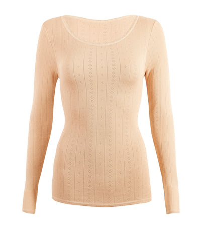 2 Pack Thermals Long Sleeve Pointelle Tops Light Camel