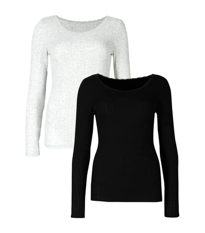 2 Pack Thermal Longsleeve Top Black/Gray