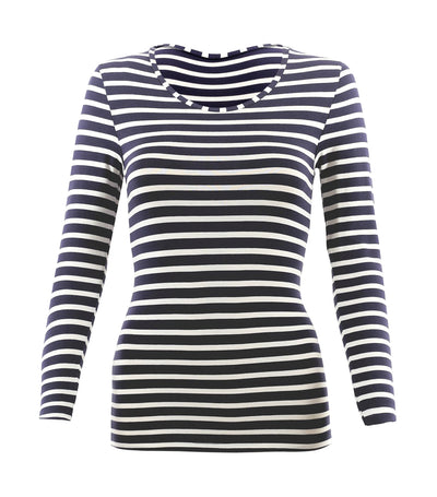 Heatgen™ Thermal Long Sleeve Striped Top Indigo Mix