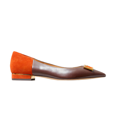 Gigi Pointy Toe Flat Black Cherry and Bright Lava