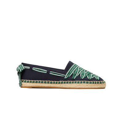 Tory Burch Logo Grosgrain Espadrille - Perfect Navy/Malachite
