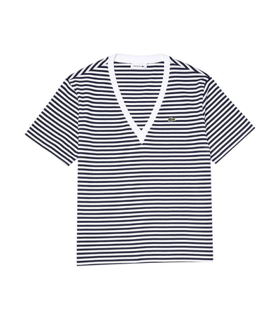 Women's Striped V-Neck Cotton T-Shirt Navy Blue and White