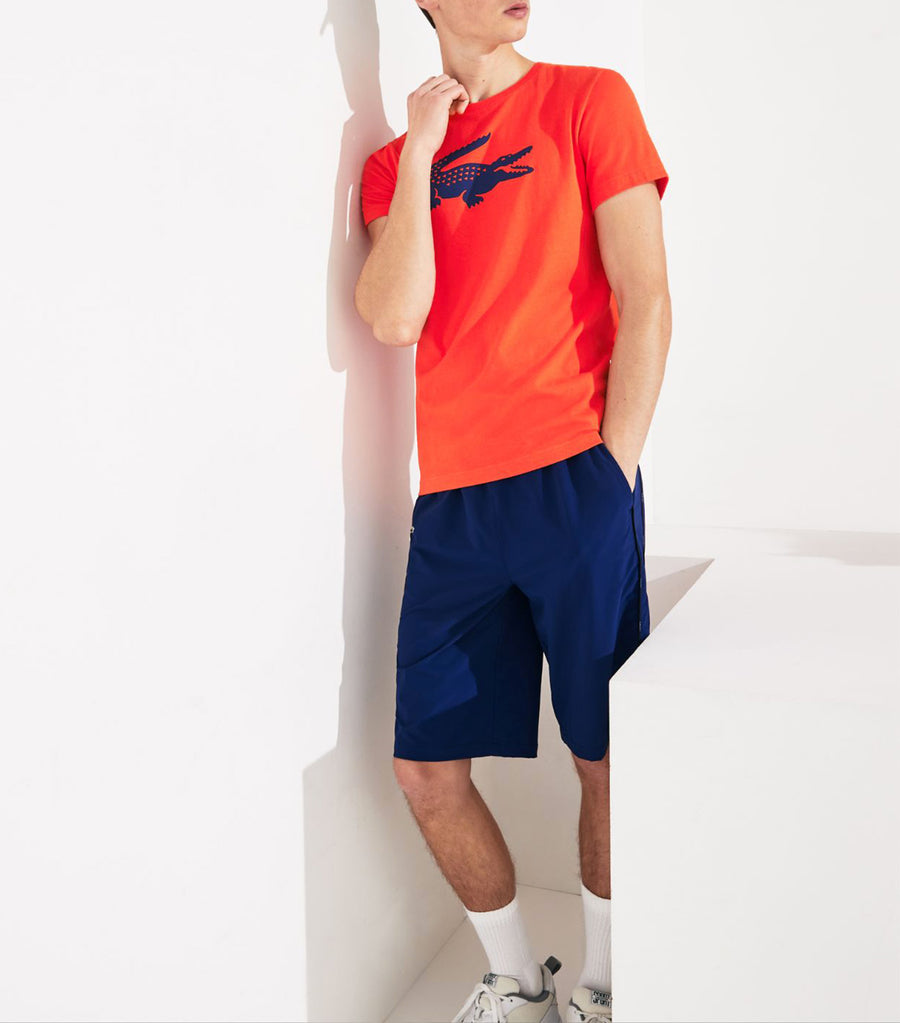 Men's Lacoste SPORT Oversized Crocodile Technical Jersey Tennis T-Shirt Red and Blue