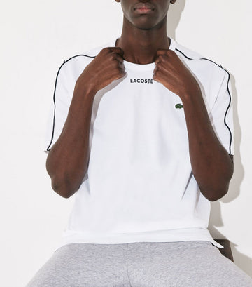 Men's Lacoste SPORT Piped Cotton T-Shirt White and Black