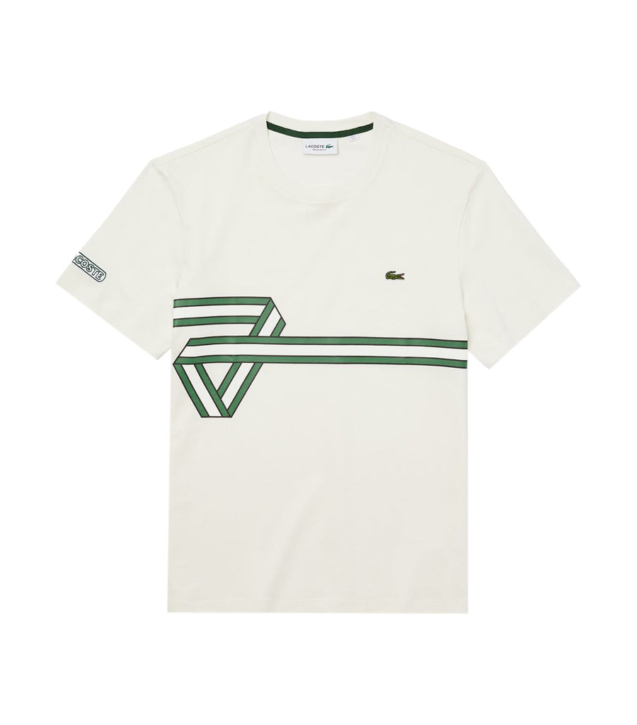 Men's Stripe Print Crew Neck T-Shirt White