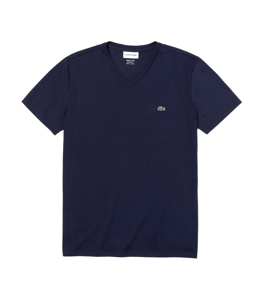 Men's V-Neck Pima Cotton Jersey T-Shirt Navy Blue