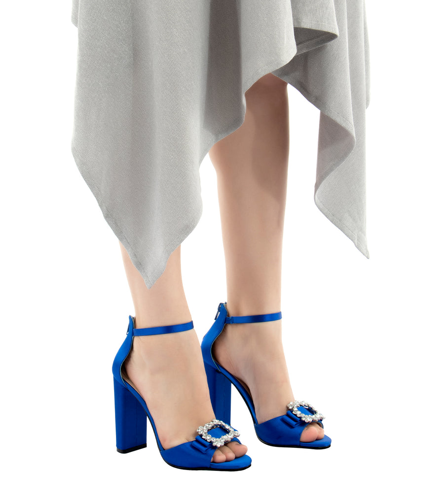caparros pasha satin block heel royal blue