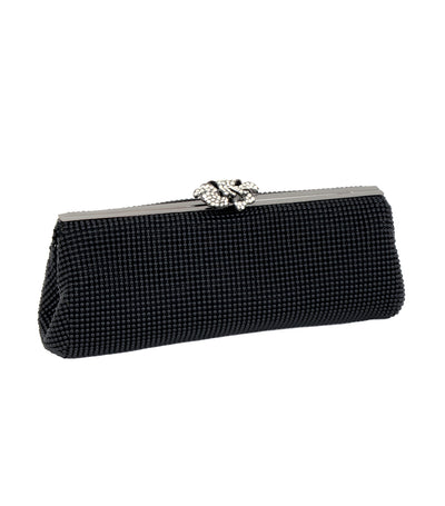 Crystal Flower Clutch Black