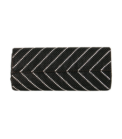 Crystal Chevron Clutch Black